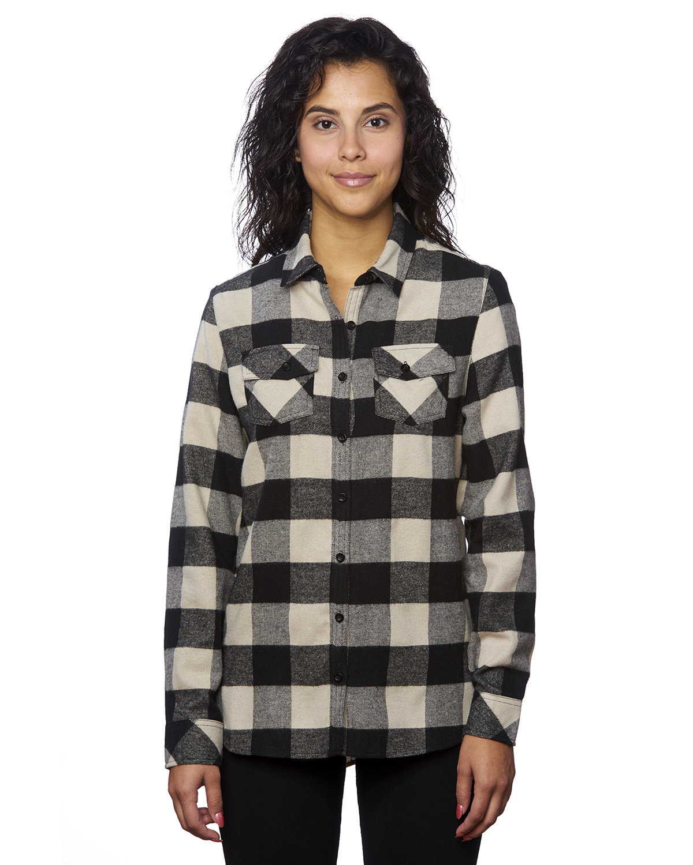 Burnside Ladies' Plaid Boyfriend Flannel Shirt ECRU/ BLACK