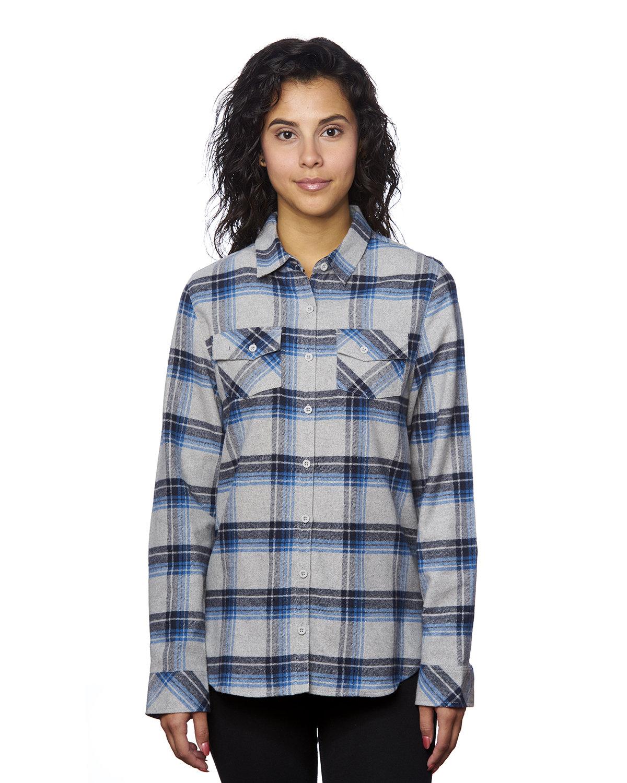 Burnside Ladies' Plaid Boyfriend Flannel Shirt GREY/ BLUE