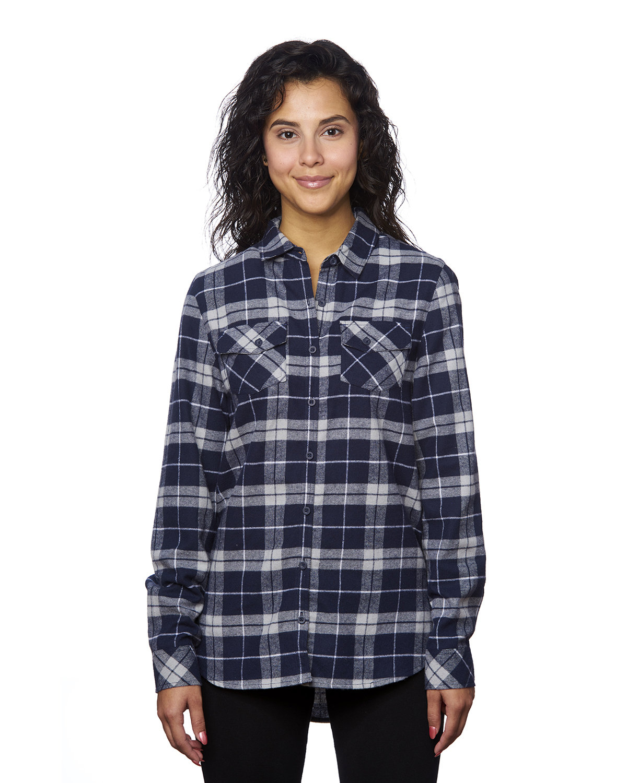 Burnside Ladies' Plaid Boyfriend Flannel Shirt NAVY/ GREY