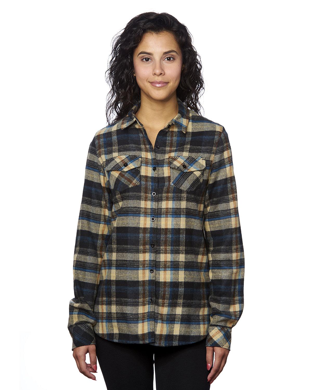 Burnside Ladies' Plaid Boyfriend Flannel Shirt DARK KHAKI