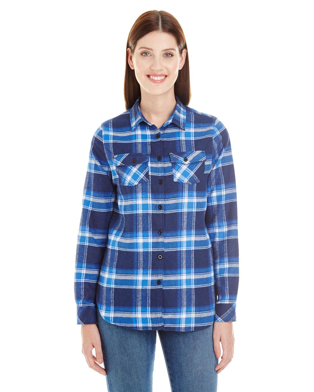 Burnside Ladies' Plaid Boyfriend Flannel Shirt BLUE/ WHITE
