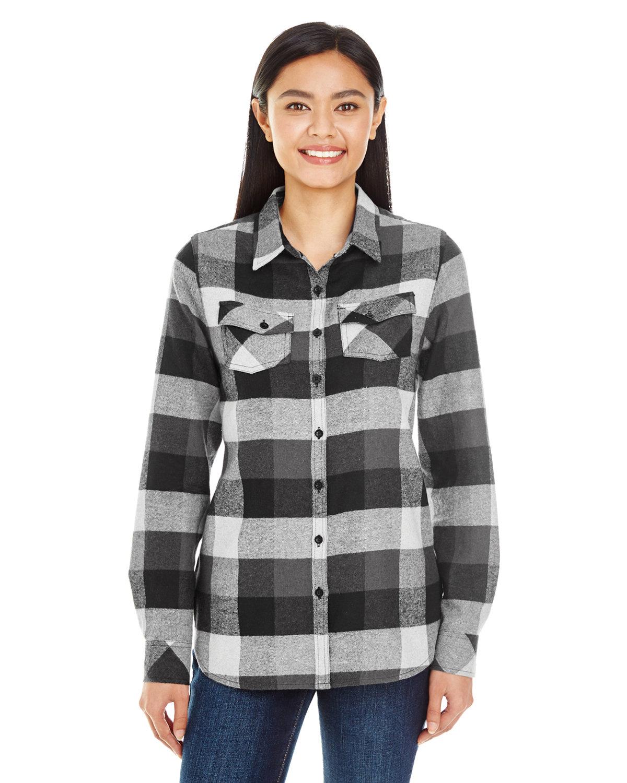 Burnside Ladies' Plaid Boyfriend Flannel Shirt BLACK