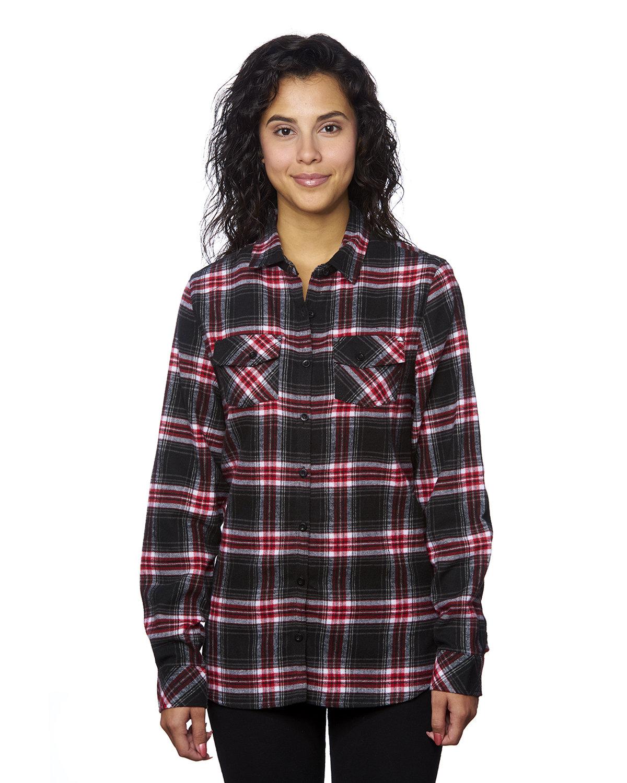 Burnside Ladies' Plaid Boyfriend Flannel Shirt RED