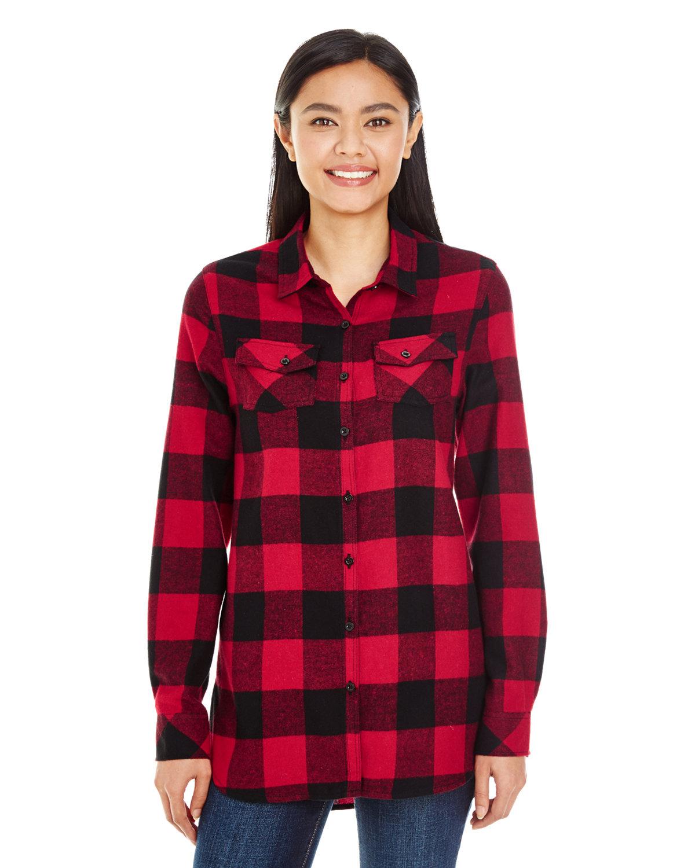 Burnside Ladies' Plaid Boyfriend Flannel Shirt RED/ BLACK
