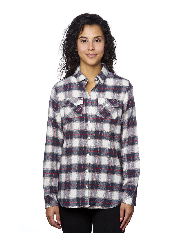 Burnside Ladies' Plaid Boyfriend Flannel Shirt WHITE/ RED