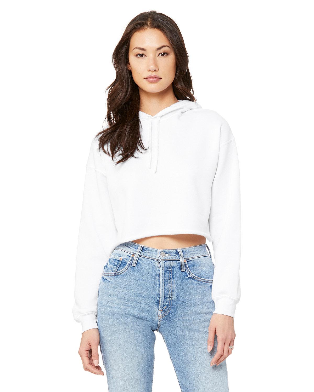 Bella + Canvas Ladies' Cropped Fleece Hoodie WHITE
