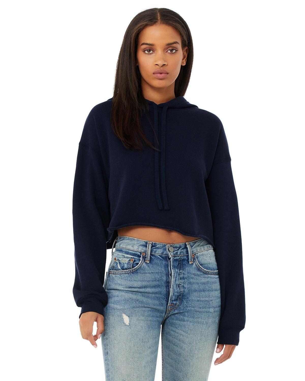 Bella + Canvas Ladies' Cropped Fleece Hoodie NAVY