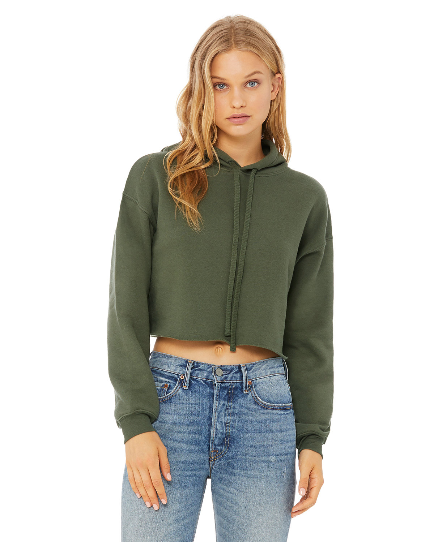 Bella + Canvas Ladies' Cropped Fleece Hoodie MILITARY GREEN
