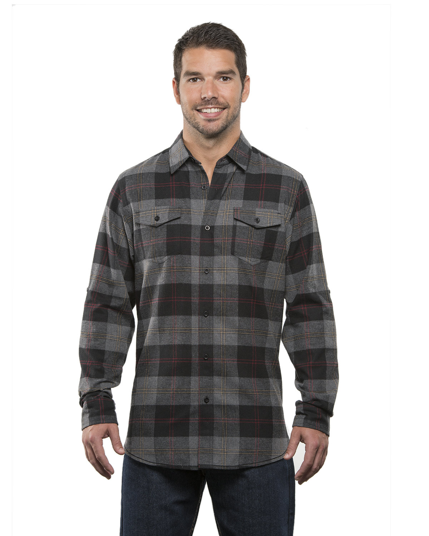 Burnside Men's Plaid Flannel Shirt BLACK/ STEEL