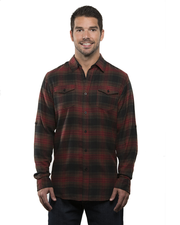 Burnside Men's Plaid Flannel Shirt CRIMSON
