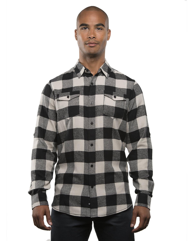 Burnside Men's Plaid Flannel Shirt ECRU/ BLACK