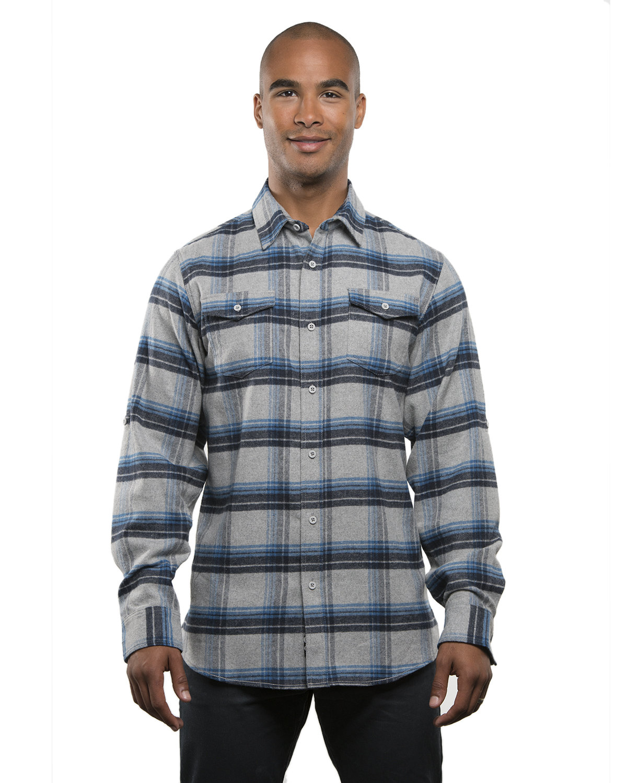 Burnside Men's Plaid Flannel Shirt GREY/ BLUE