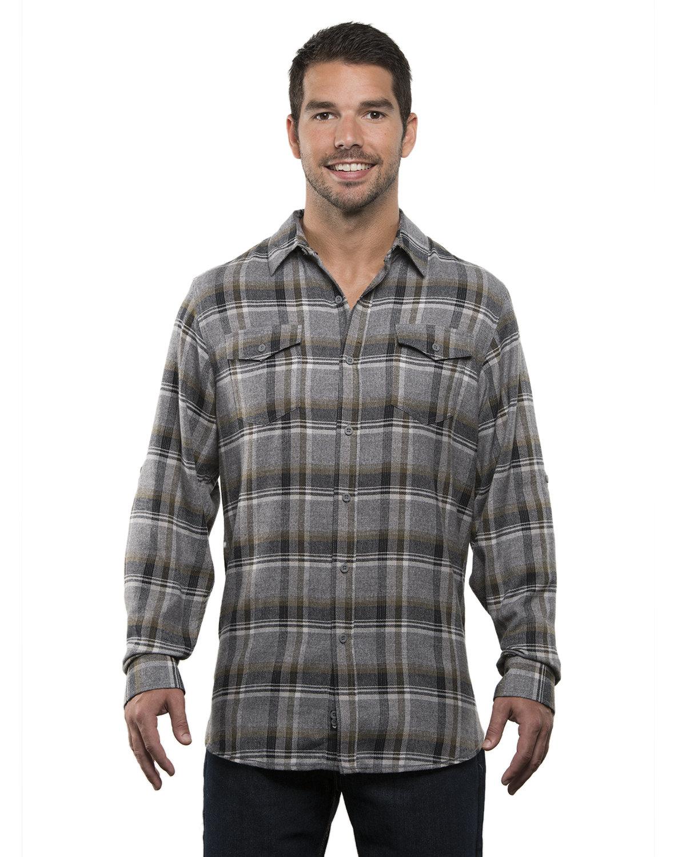 Burnside Men's Plaid Flannel Shirt GREY/ OLIVE