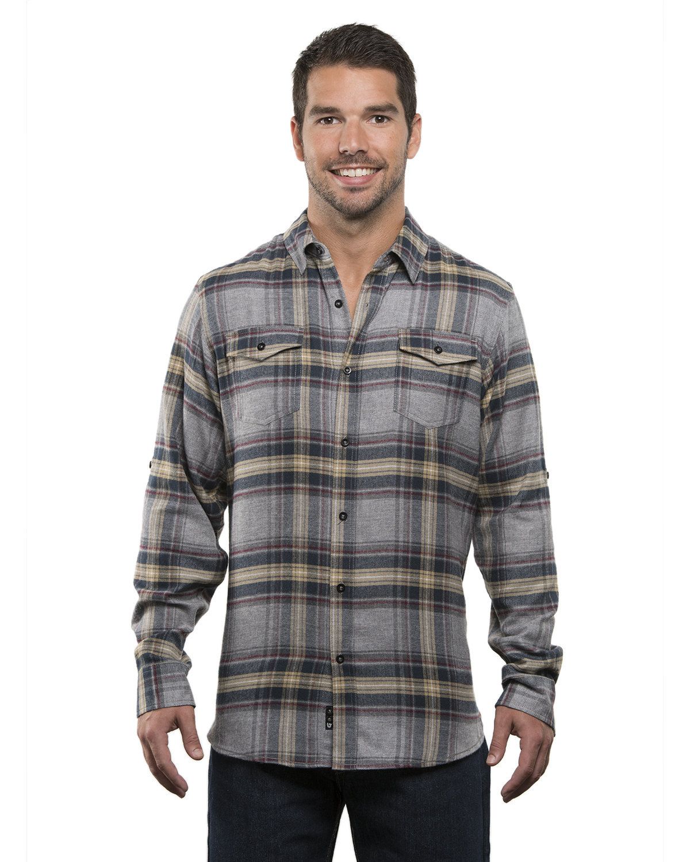 Burnside Men's Plaid Flannel Shirt LIGHT GREY