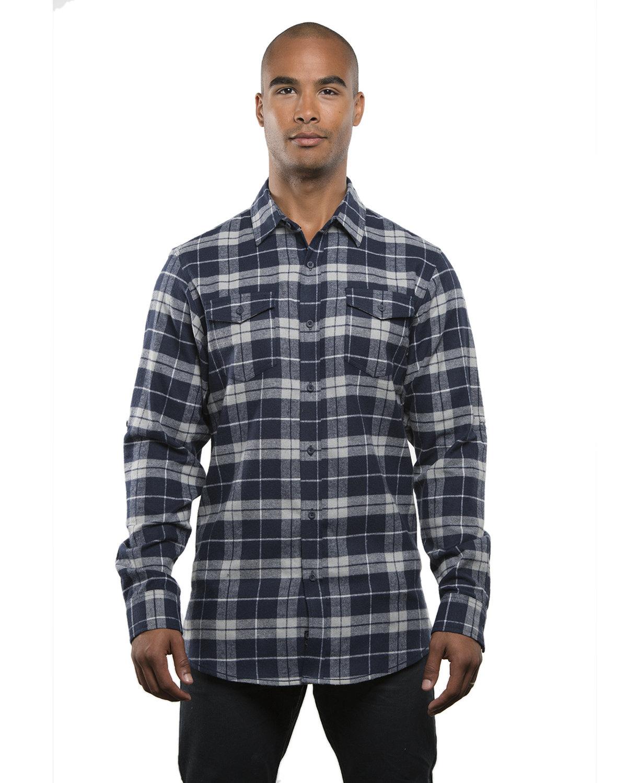 Burnside Men's Plaid Flannel Shirt NAVY/ GREY