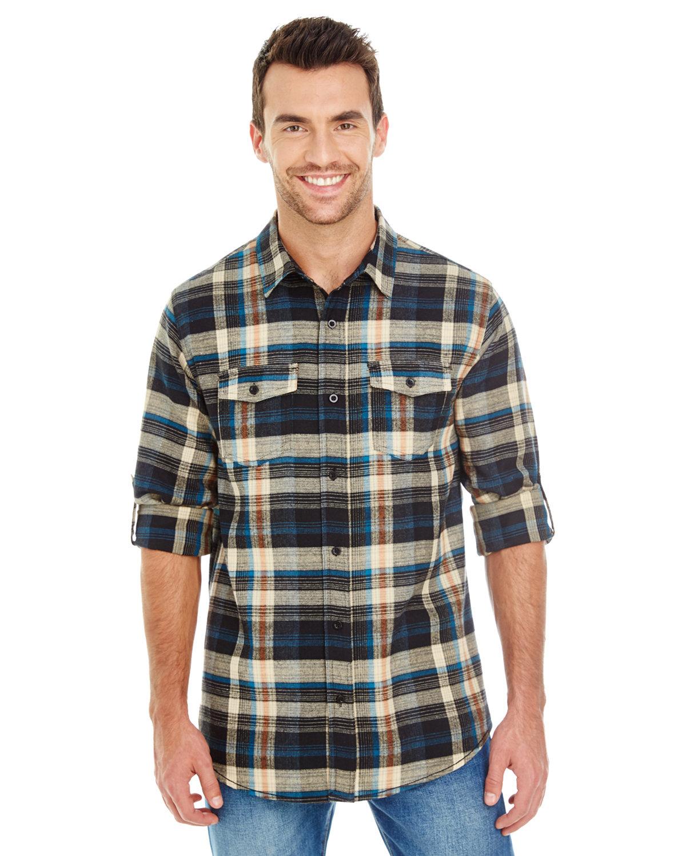 Burnside Men's Plaid Flannel Shirt DARK KHAKI