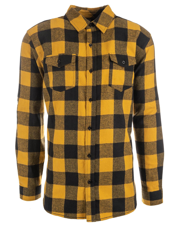 Burnside Men's Plaid Flannel Shirt GOLD/ BLACK