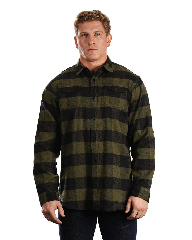 Burnside Men's Plaid Flannel Shirt ARMY/ BLACK