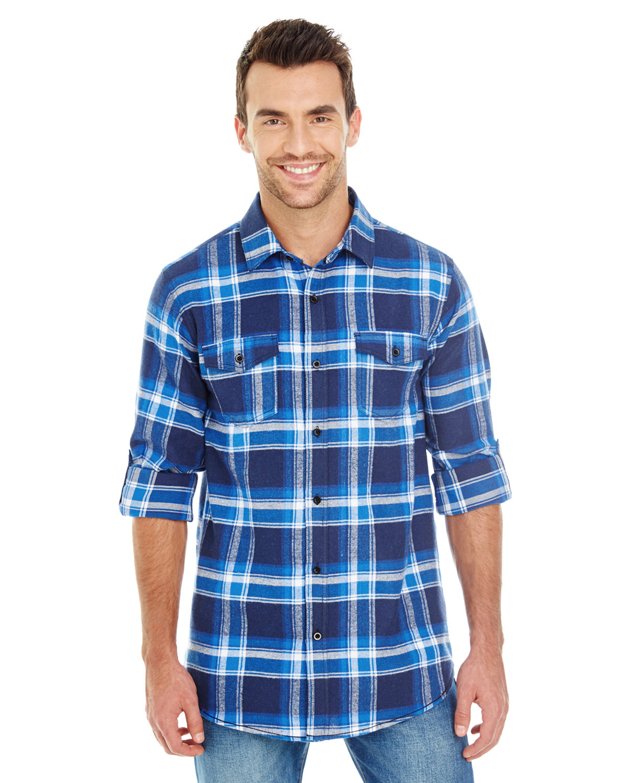 Burnside Men's Plaid Flannel Shirt BLUE/ WHITE
