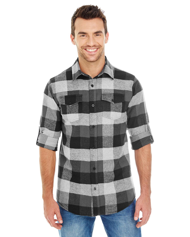 Burnside Men's Plaid Flannel Shirt BLACK/ GREY