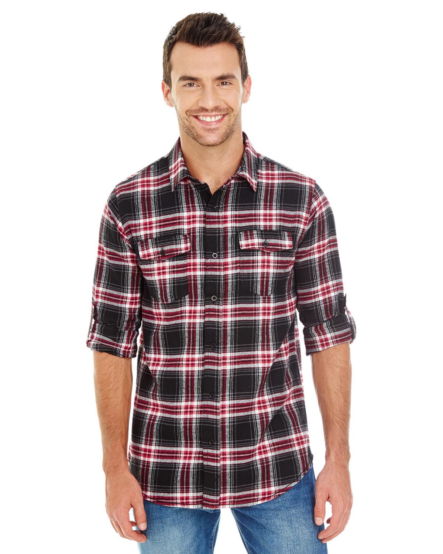 Burnside Men's Plaid Flannel Shirt RED