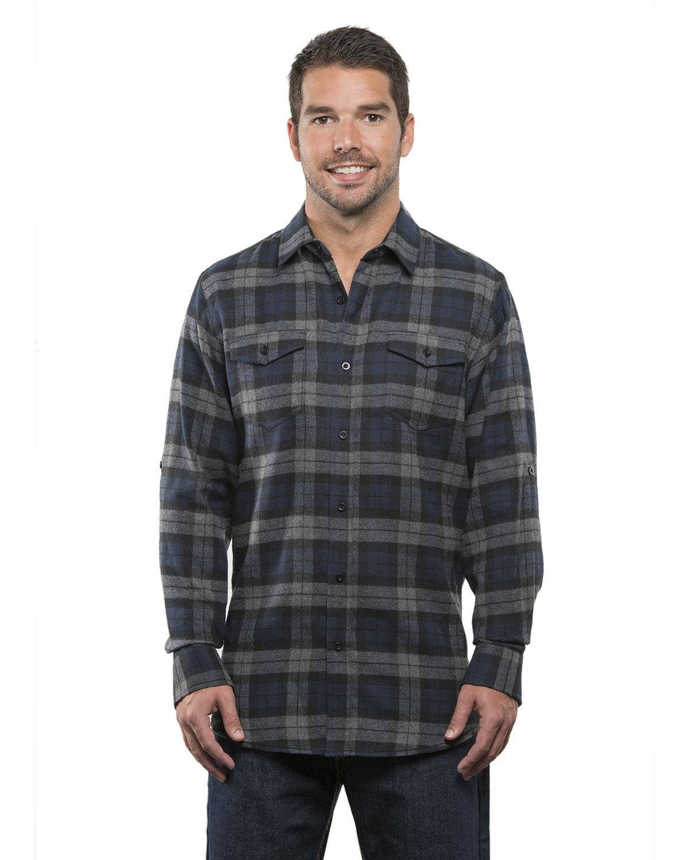 Burnside Men's Plaid Flannel Shirt NAVY