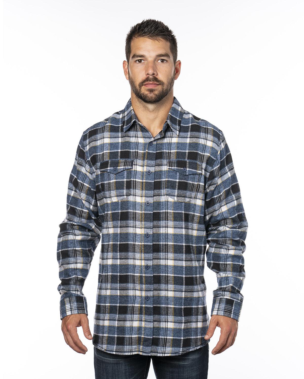 Burnside Men's Plaid Flannel Shirt BLUE