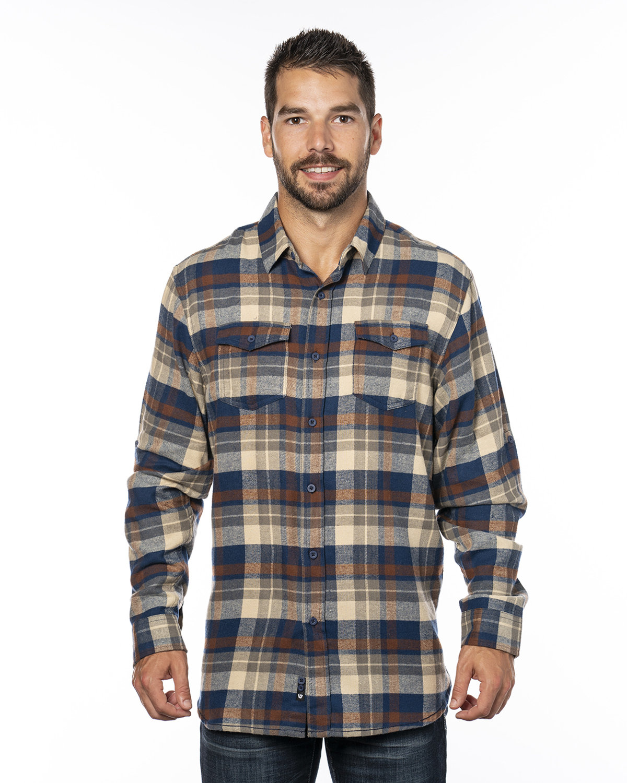 Burnside Men's Plaid Flannel Shirt BROWN