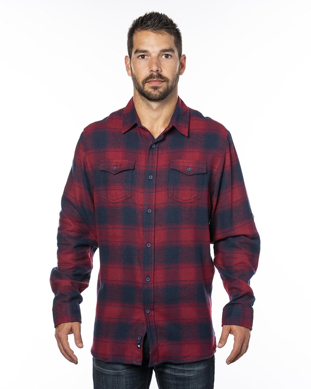 Burnside Men's Plaid Flannel Shirt CRIMSON/ NAVY