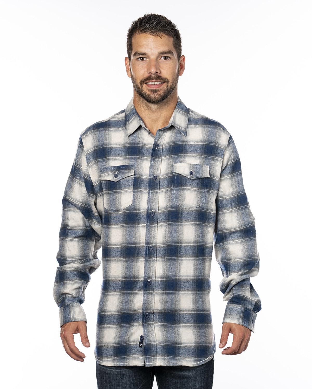 Burnside Men's Plaid Flannel Shirt ECRU/ BLUE