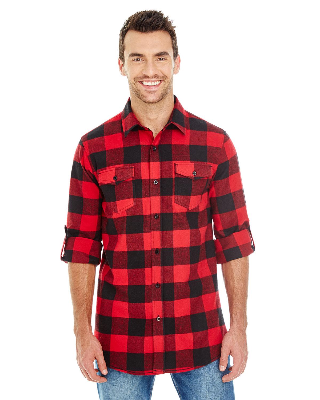 Burnside Men's Plaid Flannel Shirt RED/ BLACK