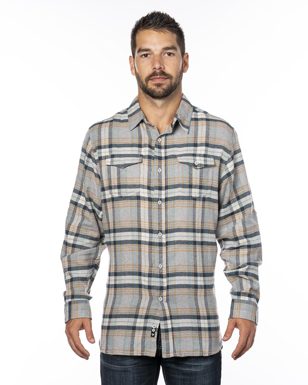 Burnside Men's Plaid Flannel Shirt STONE