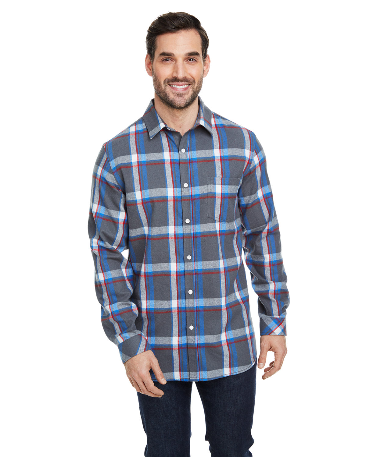 Burnside Woven Plaid Flannel With Biased Pocket STEEL/ WHITE