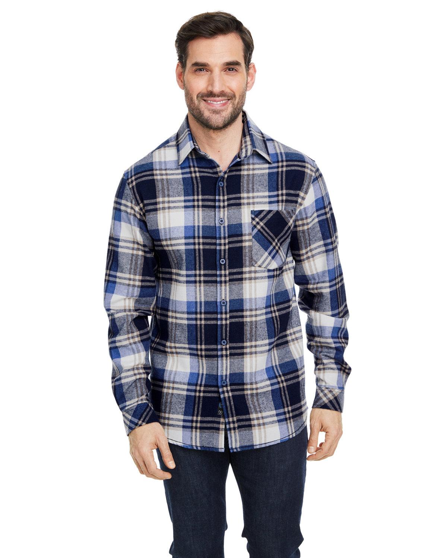 Burnside Woven Plaid Flannel With Biased Pocket BLUE/ ECRU