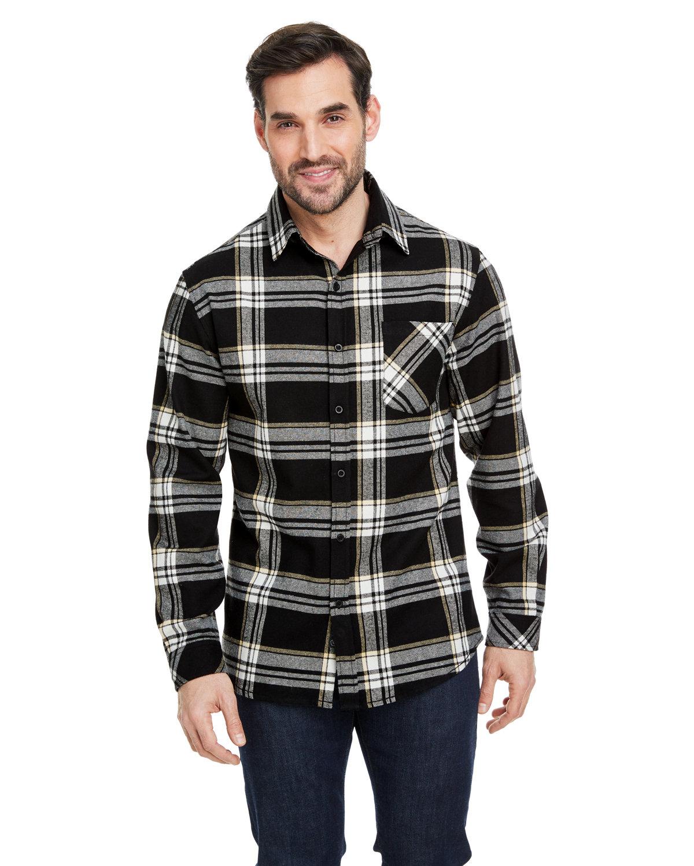 Burnside Woven Plaid Flannel With Biased Pocket BLACK/ ECRU