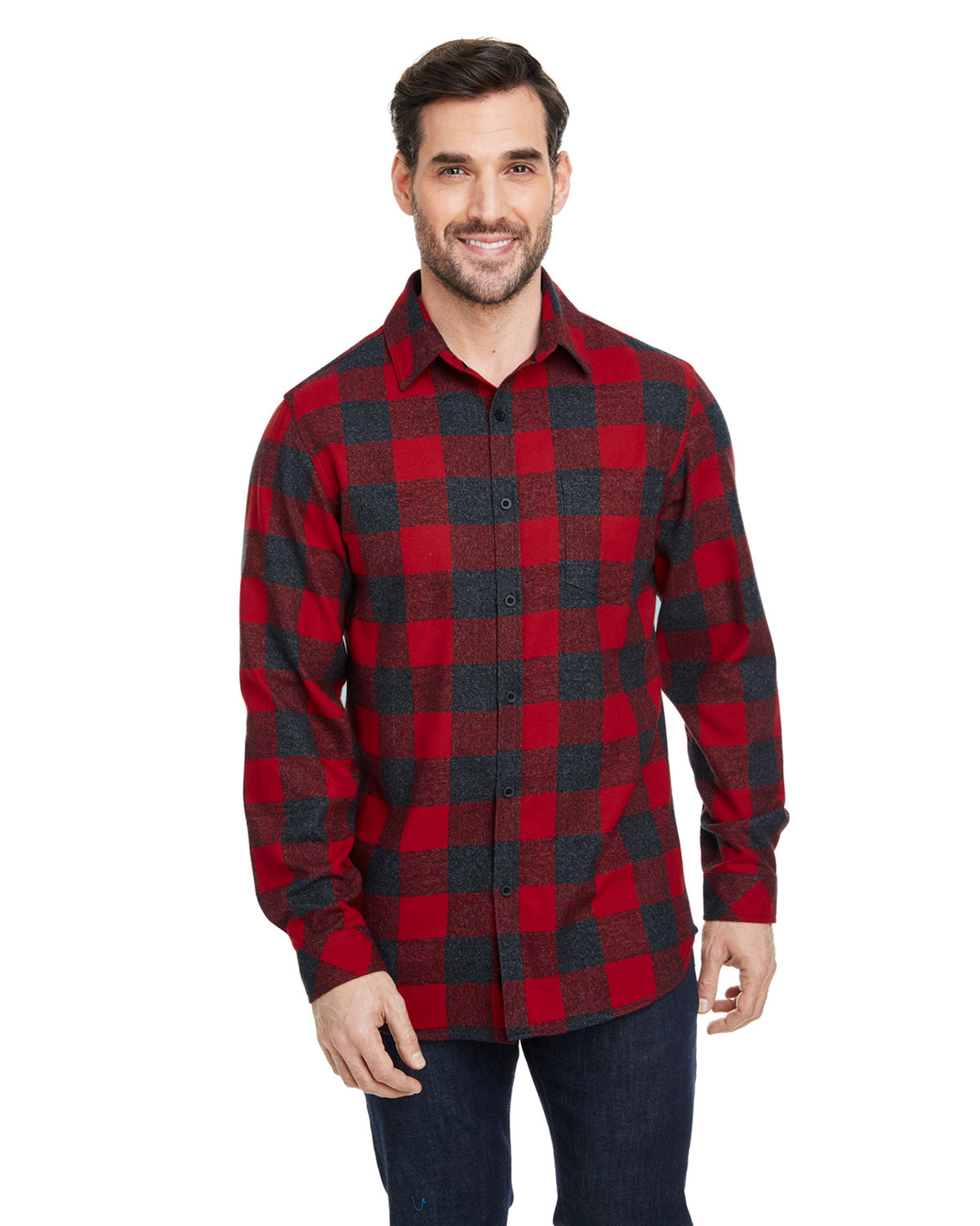 Burnside Woven Plaid Flannel With Biased Pocket RED/ H BLACK