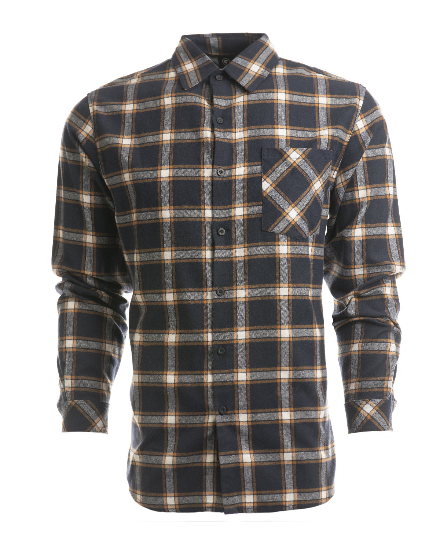 Burnside Woven Plaid Flannel With Biased Pocket NAVY/ ORANGE