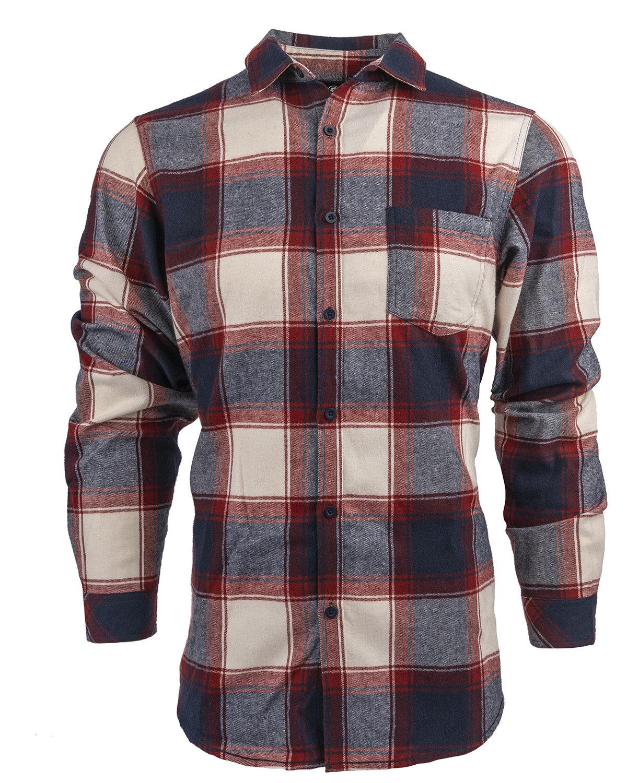 Burnside Woven Plaid Flannel With Biased Pocket CRIMSON/ ECRU
