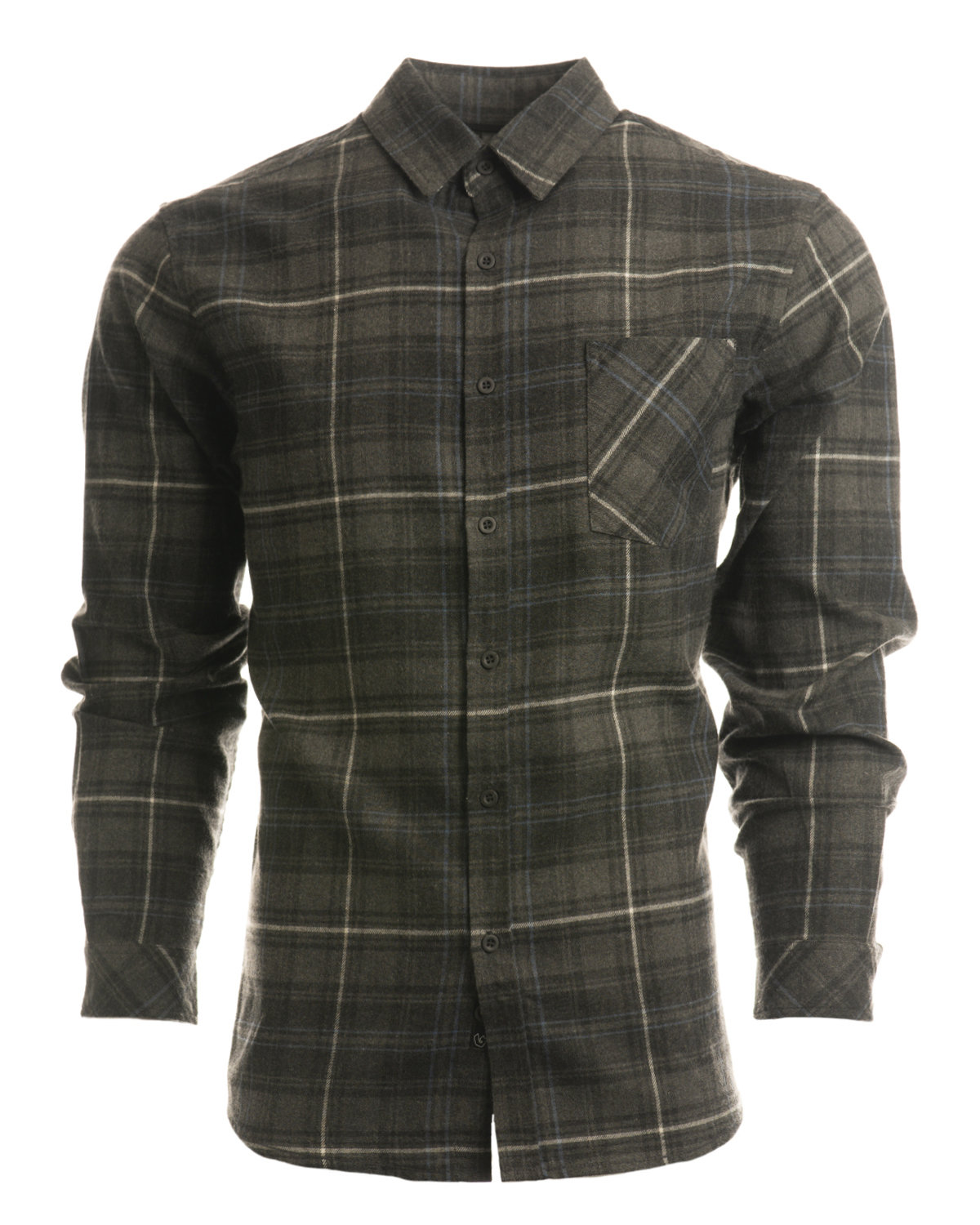 Burnside Woven Plaid Flannel With Biased Pocket CHARCOAL/ BLUE
