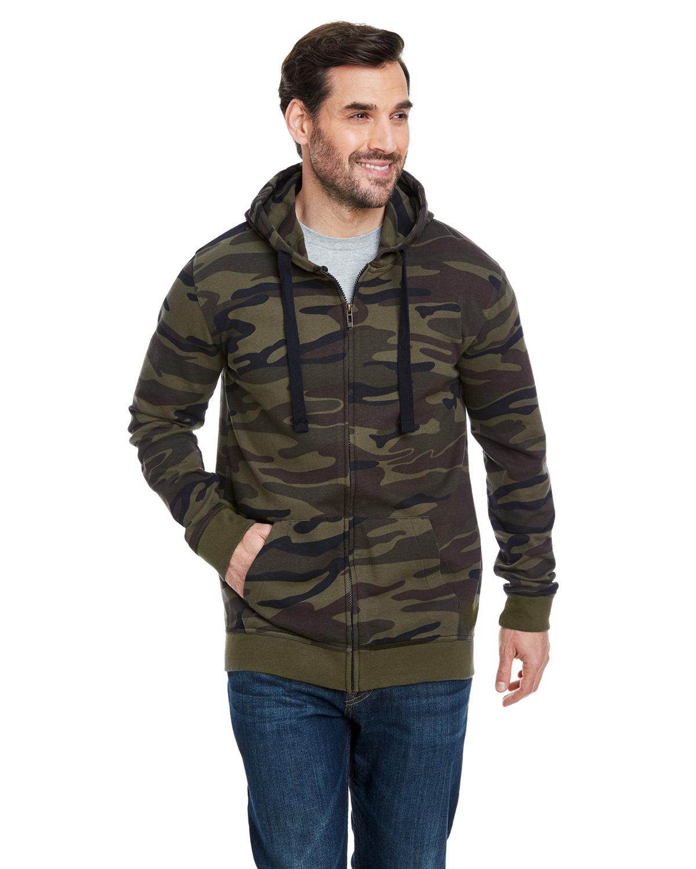 Burnside Men's  French Terry Full-Zip Hooded Sweatshirt GREEN CAMO