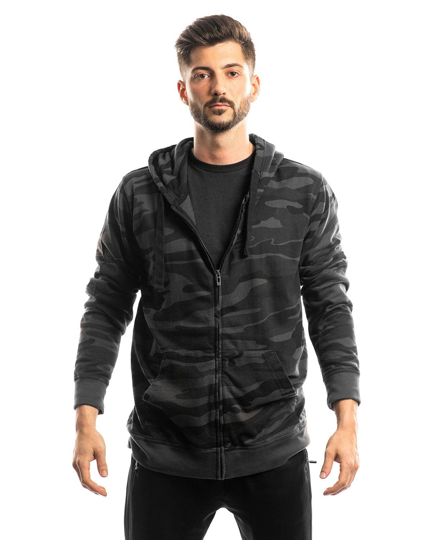Burnside Men's  French Terry Full-Zip Hooded Sweatshirt BLACK CAMO/ BLK