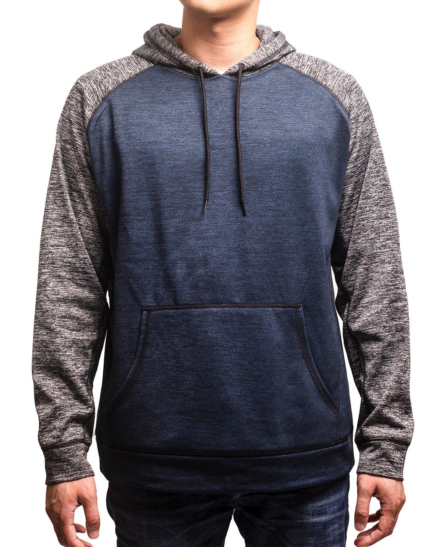 Burnside Men's Go Anywhere Performance Fleece Pullover NAVY/ HTH CHAR