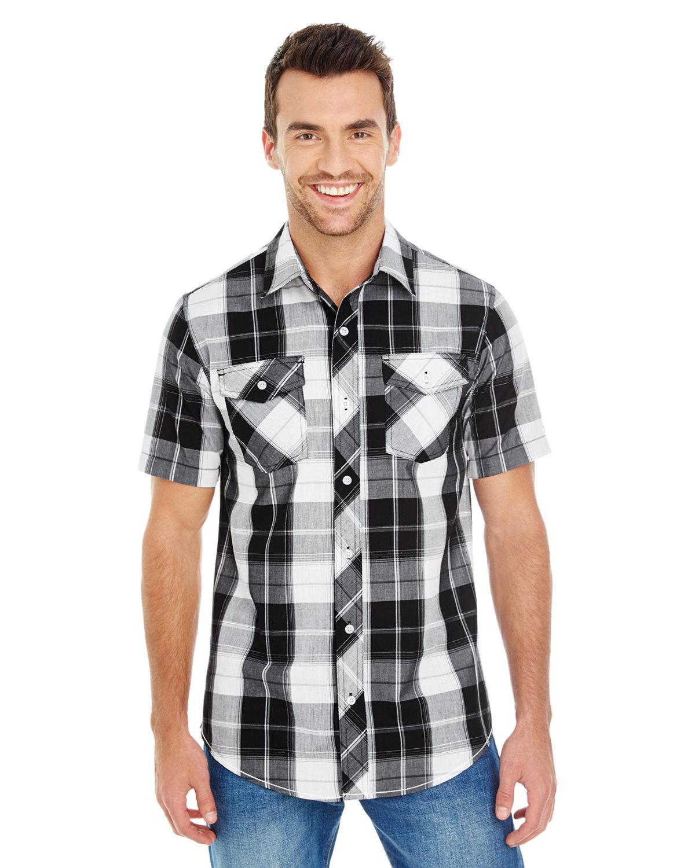 Burnside Men's Short-Sleeve Plaid Pattern Woven Shirt WHITE/ BLACK
