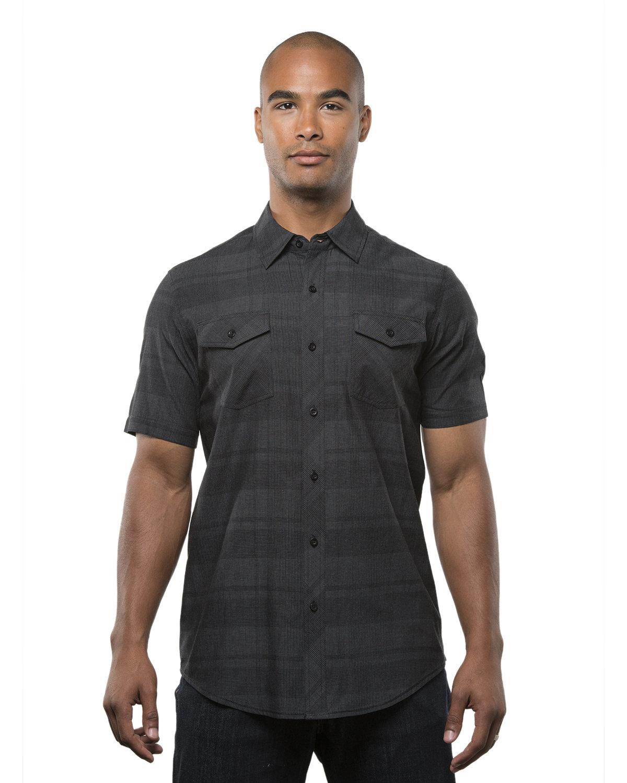 Burnside Men's Short-Sleeve Plaid Pattern Woven Shirt BLACK/ GREY