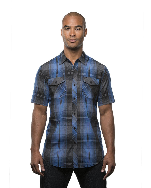 Burnside Men's Short-Sleeve Plaid Pattern Woven Shirt BLUE/ BLACK