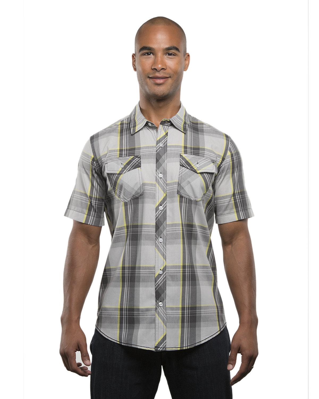 Burnside Men's Short-Sleeve Plaid Pattern Woven Shirt GREY/ YELLOW