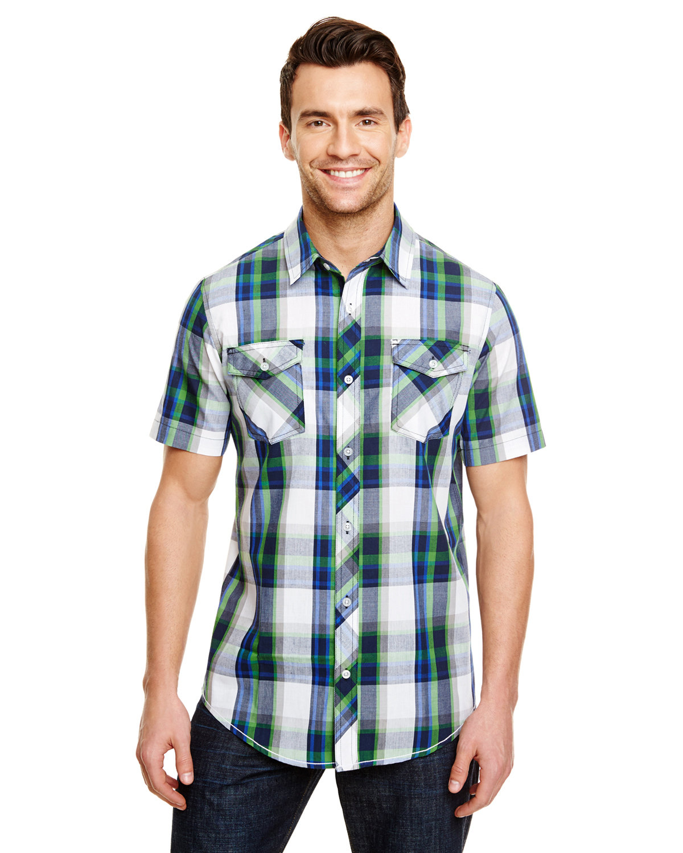 Burnside Men's Short-Sleeve Plaid Pattern Woven Shirt BLUE