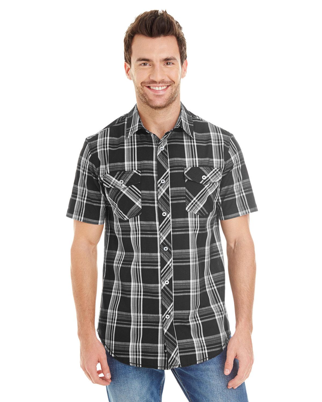 Burnside Men's Short-Sleeve Plaid Pattern Woven Shirt BLACK/ WHITE