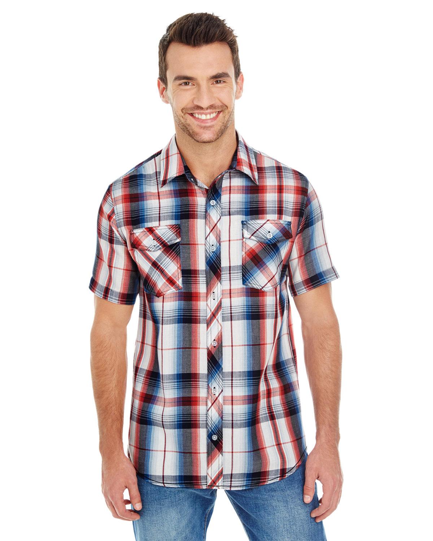 Burnside Men's Short-Sleeve Plaid Pattern Woven Shirt RED