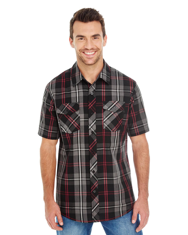 Burnside Men's Short-Sleeve Plaid Pattern Woven Shirt RED/ BLACK